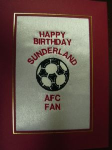 PERSONALISED EMBROIDERED SUNDERLAND AFC CARD - FOOTBALL